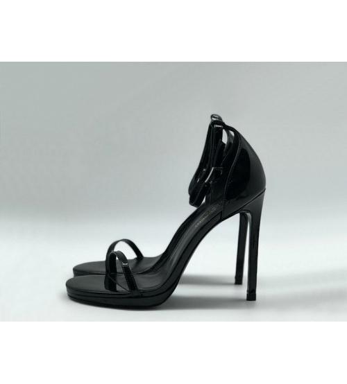 Женские босоножки Yves Saint Laurent (Ив Сен Лоран) кожаные на высоком каблуке Black