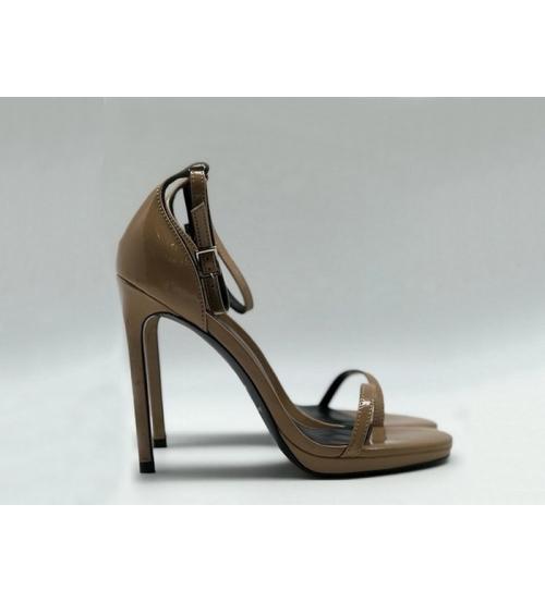 Женские босоножки Yves Saint Laurent (Ив Сен Лоран) кожаные на высоком каблуке Brown