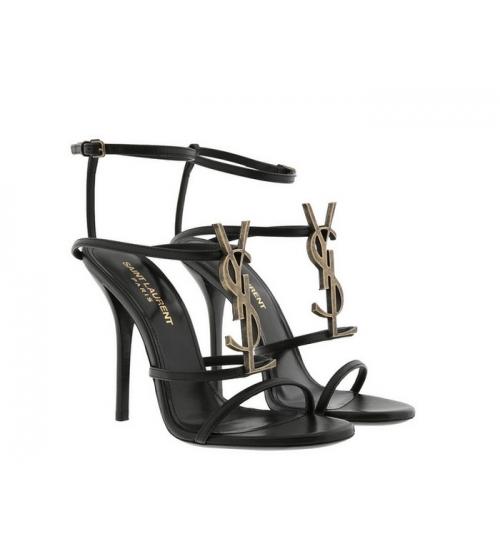 Женские босоножки Yves Saint Laurent (Ив Сен Лоран) Cassandra кожаные на высоком каблуке шпилька Black