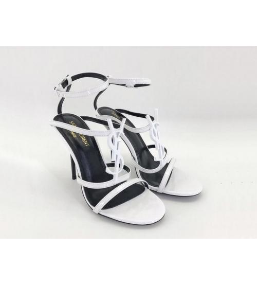 Женские босоножки Yves Saint Laurent (Ив Сен Лоран) Cassandra кожаные на высоком каблуке шпилька White