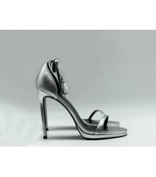 Скидки Женские босоножки Yves Saint Laurent (Ив Сен Лоран) кожаные на  высоком каблуке Silver b8cb5065583