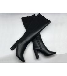 Скидки Сапоги женские Yves Saint Laurent (Ив Сен Лоран) кожаные по колено Black  Быстрый Просмотр b9d418ca756