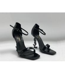 Женские босоножки Yves Saint Laurent (Ив Сен Лоран) кожаные с логотипом каблука Black