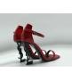Женские босоножки Yves Saint Laurent (Ив Сен Лоран) кожаные с логотипом каблука Red
