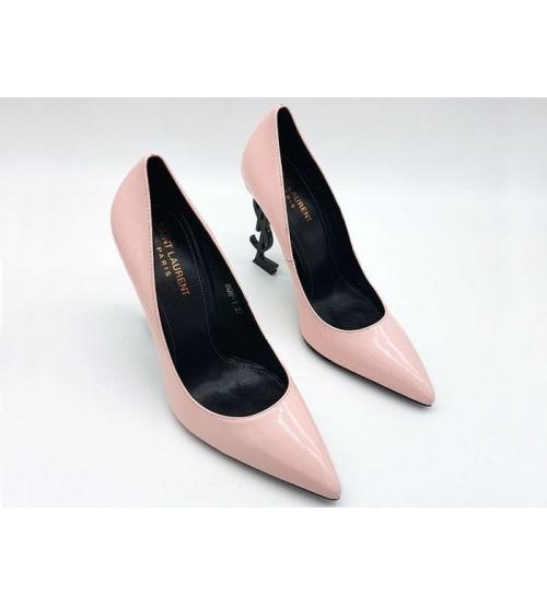 Женские туфли Yves Saint Laurent (Ив Сен Лоран) лаковая кожа с логотипом  каблука Pink c90b6960831