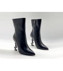 Ботильоны женские Yves Saint Laurent (Ив Сен Лоран) OPYUM кожаные на молнии Black