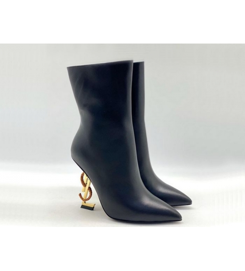 Ботильоны женские Yves Saint Laurent (Ив Сен Лоран) OPYUM кожаные на молнии Black/Gold