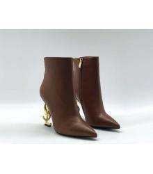 Ботильоны женские Yves Saint Laurent (Ив Сен Лоран) OPYUM кожаные на молнии Brown/Gold