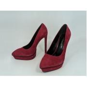 Женские туфли Yves Saint Laurent (Ив Сен Лоран) замшевые на высоком каблука Bordo