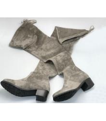 Ботфорты женские Stuart Weitzman (Стюарт Вайтцман) велюр на среднем каблуке Grey