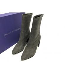 Полусапоги женские Stuart Weitzman (Стюарт Вайтцман) замшевые на толстом каблуке Gray