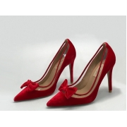 Женские туфли Valentino (Валентино) бархатные каблук шпилька Red