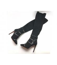 Женские сапоги Valentino Garavani (Валентино Гаравани) Free Rockstud Bodytech каблук шпилька Black