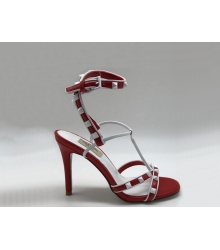 Женские босоножки Valentino Garavani (Валентино Гаравани) Free Rockstud кожаные Red