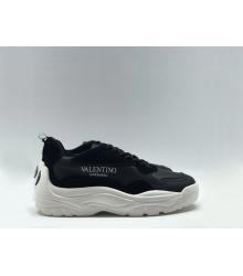 Женские кроссовки Valentino (Валентино) Garavani кожаные на шнурках с лого Black