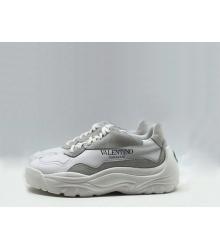 Женские кроссовки Valentino (Валентино) Garavani кожаные на шнурках с лого White