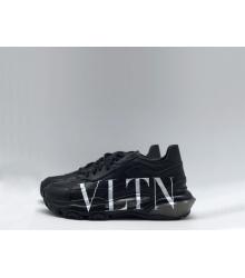 Женские кроссовки Valentino (Валентино) Garavani кожаные на шнурках с логотипом Black