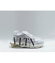 Женские кроссовки Valentino (Валентино) Garavani кожаные на шнурках с логотипом White