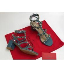 Босоножки женские Valentino Garavani (Валентино Гаравани) кожаные на толстом среднем каблуке с шипами Blue