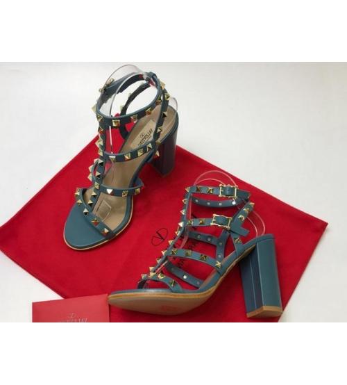 Босоножки женские Valentino Garavani (Валентино Гаравани) кожаные на толстом высоком каблуке Blue
