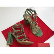 Босоножки женские Valentino Garavani (Валентино Гаравани) кожаные на толстом высоком каблуке Green