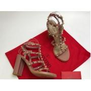 Босоножки женские Valentino Garavani (Валентино Гаравани) кожаные на толстом высоком каблуке с шипами Purple