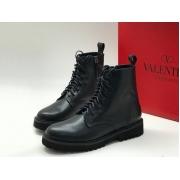 Женские ботинки Valentino Garavani (Валентино Гаравани) кожаные с молнией Black