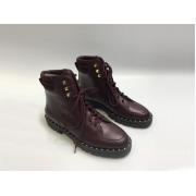 Женские ботинки Valentino Garavani (Валентино Гаравани) кожаные с шипами Bordo
