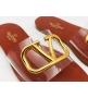 Женские шлепанцы Valentino Garavani (Валентино Гаравани) летние кожаные с лого Blrown