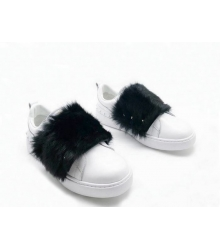 Женские кроссовки Valentino Garavani (Валентино Гаравани) летние мехом кролика White/Black