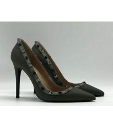 Женские туфли Valentino Garavani Rockstud (Валентино Гаравани) кожаные каблук шпилька Grey