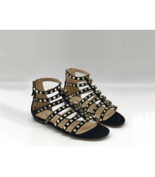 Женские сандалии Valentino Garavani (Валентино Гаравани) Rockstud кожаные на молнии с шипами Black
