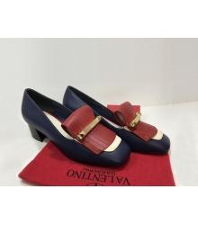 Лоферы женские Valentino Garavani (Валентино Гаравани) Rockstud кожаные на среднем каблуке Dark Blue