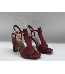 Босоножки женские Valentino Garavani (Валентино Гаравани) Rockstud кожаные на толстом каблуке Bordo