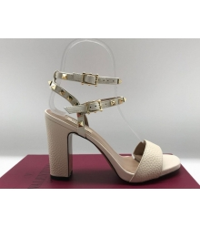 Женские босоножки Valentino Garavani (Валентино Гаравани) Rockstud кожаные на высоком каблуке White
