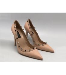 Женские туфли Valentino Garavani Rockstud (Валентино Гаравани) кожаные высокий каблук шпилька Pink