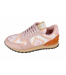 Женские кроссовки Valentino (Валентино) Garavani Rockstud Pink\Orange