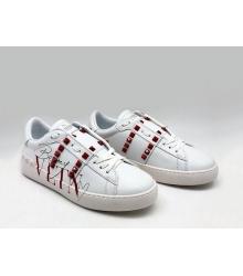 Женские кроссовки Valentino (Валентино) Garavani Rockstud с шипами White\Red