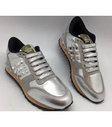 Женские кроссовки Valentino Garavani (Валентино Гаравани) Rockstud Silver