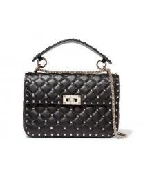 Женская сумка Valentino Garavani (Валентино Гаравани) Rockstud Spike кожаная через плечо Black