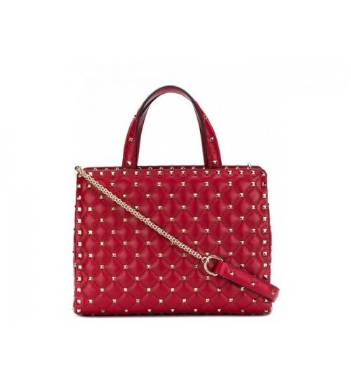 Женская роскошная сумка Valentino Garavani (Валентино Гаравани) Rockstud Spike кожаная через плечо на цепочке Red