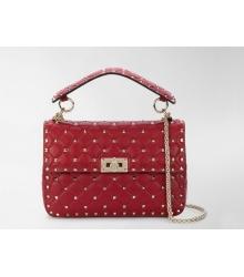 Женская роскошная сумка Valentino Garavani (Валентино Гаравани) Rockstud Spike кожаная через плечо Red