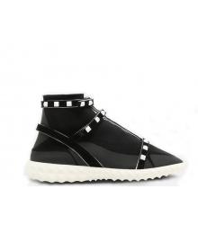 Женские кроссовки Valentino Garavani (Валентино Гаравани) Rockstud текстиль Black