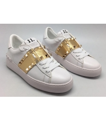 Женские кроссовки Valentino Garavani (Валентино Гаравани) Rockstud White/Gold