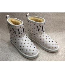 Женские полусапожки - угги Valentino Garavani (Валентино Гаравани) Rockstud зимние кожаные White