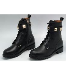 Ботинки женские Valentino Garavani (Валентино Гаравани) с золотыми шипами Black