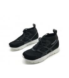 Женские кроссовки Valentino (Валентино) Garavani Sound высокие на шнурках Black