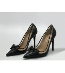 Женские туфли Valentino (Валентино) кожаные каблук шпилька Black