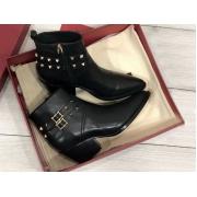 Ботильоны женские Valentino (Валентино) кожаные каблук средней длины с молнией Black