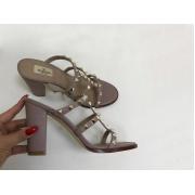 Босоножки женские Valentino (Валентино) летние кожаные на толстом каблуке Gray